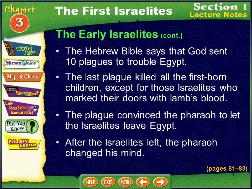 The Early Israelites (cont.) The Hebrew Bible says that God sent 10 plagues to trouble Egypt.