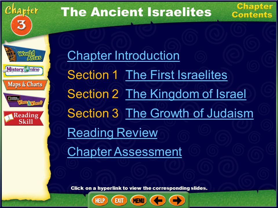 Chapter Introduction Section 1 The First IsraelitesThe First Israelites Section 2 The Kingdom of IsraelThe Kingdom of Israel Section 3 The Growth of JudaismThe Growth of Judaism Reading Review Chapter Assessment The Ancient Israelites Click on a hyperlink to view the corresponding slides.