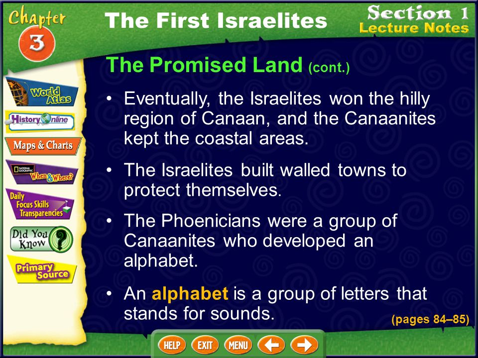 The Promised Land (cont.) The Israelites built walled towns to protect themselves.