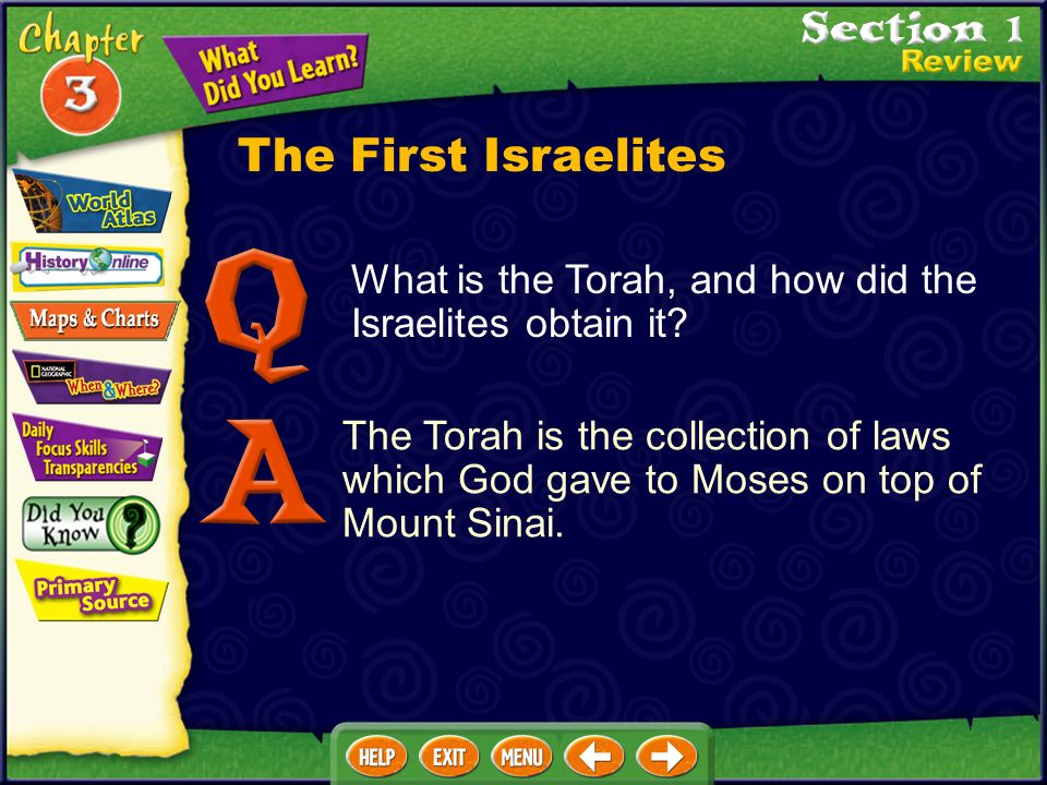 The Torah is the collection of laws which God gave to Moses on top of Mount Sinai.