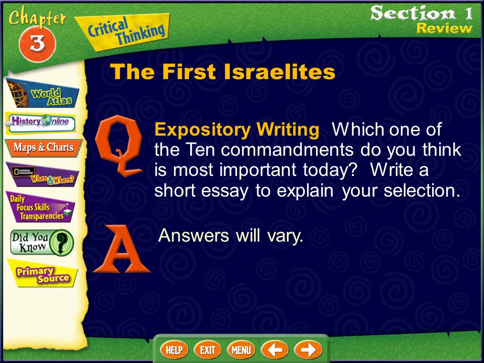Expository Writing Which one of the Ten commandments do you think is most important today.