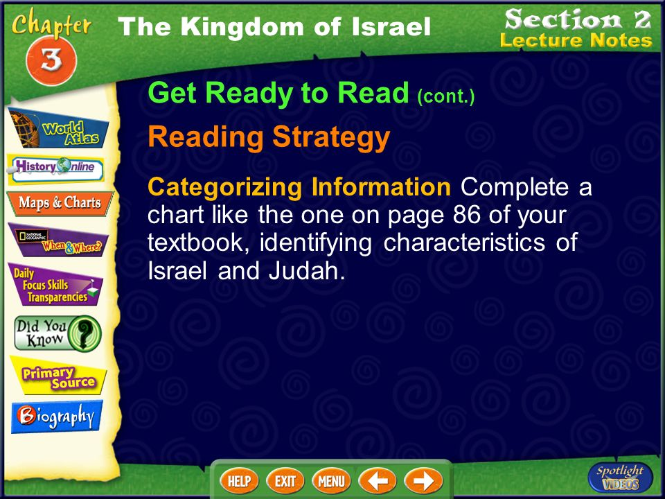 Get Ready to Read (cont.) Reading Strategy Categorizing Information Complete a chart like the one on page 86 of your textbook, identifying characteristics of Israel and Judah.