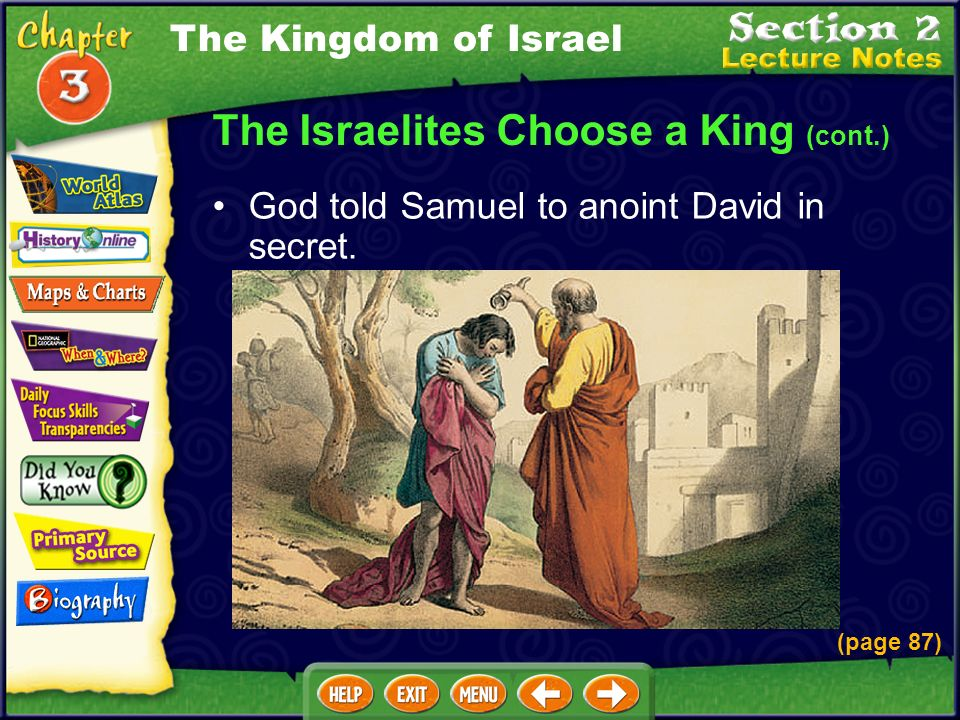 The Israelites Choose a King (cont.) (page 87) The Kingdom of Israel God told Samuel to anoint David in secret.