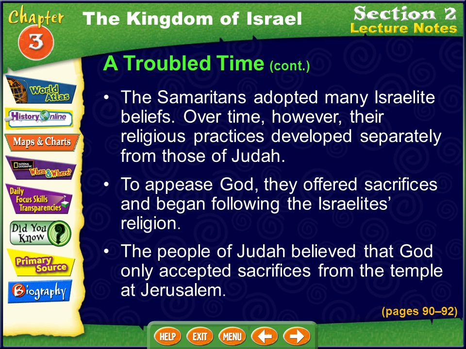 A Troubled Time (cont.) To appease God, they offered sacrifices and began following the Israelites religion.