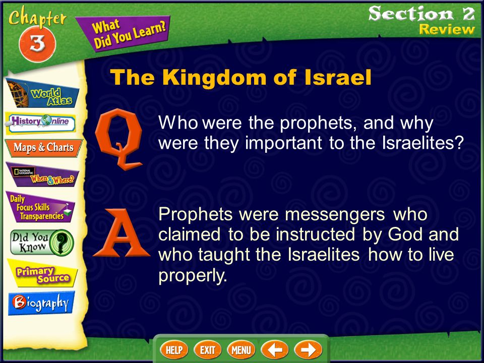 Prophets were messengers who claimed to be instructed by God and who taught the Israelites how to live properly.