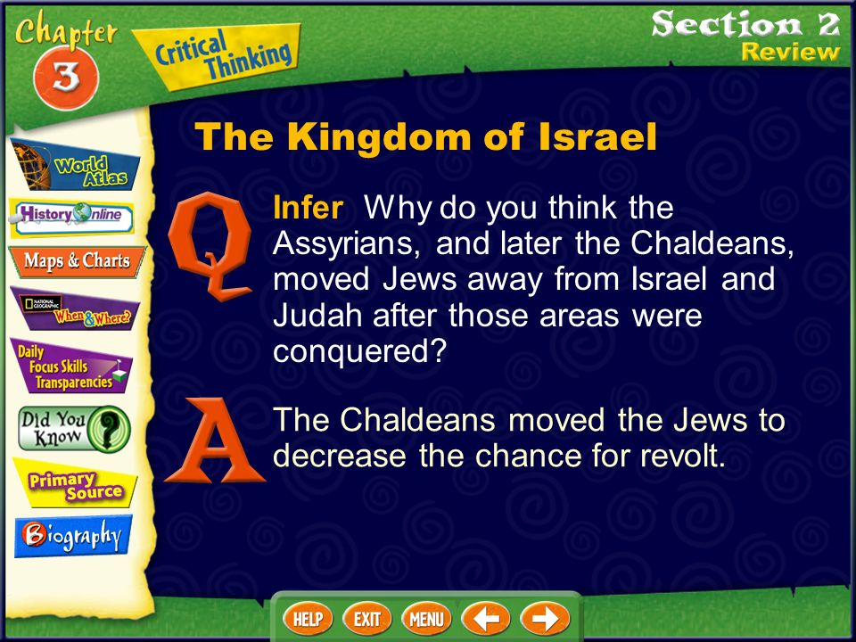 Infer Why do you think the Assyrians, and later the Chaldeans, moved Jews away from Israel and Judah after those areas were conquered.