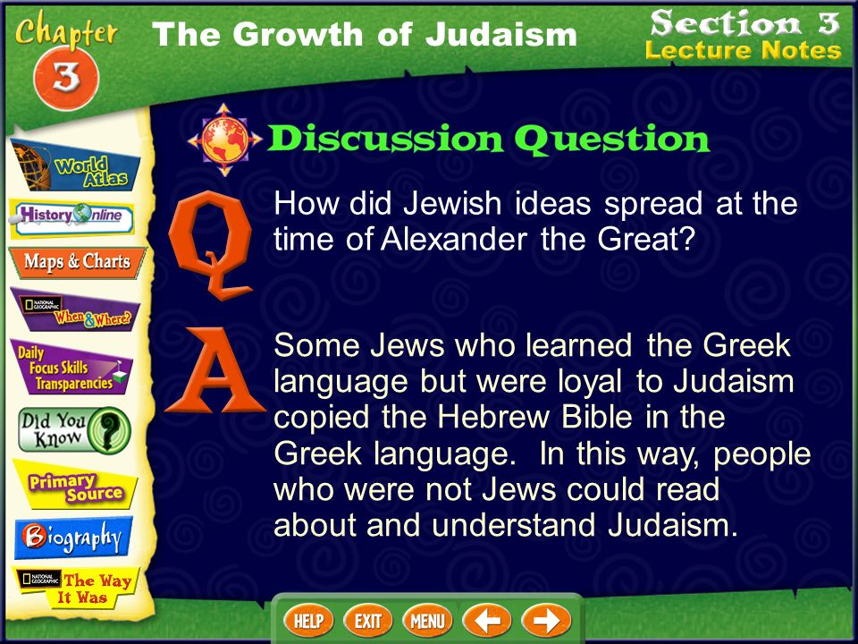 How did Jewish ideas spread at the time of Alexander the Great.