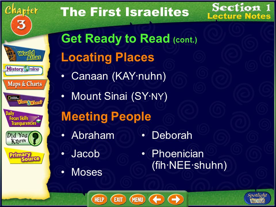 Get Ready to Read (cont.) Locating Places Canaan (KAY·nuhn) Mount Sinai (SY· NY ) Meeting People Abraham Jacob Moses Deborah Phoenician (fih·NEE·shuhn) The First Israelites