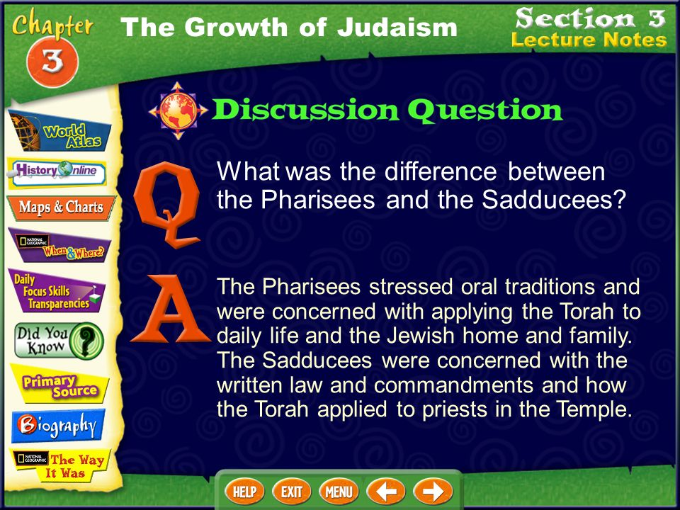 What was the difference between the Pharisees and the Sadducees.