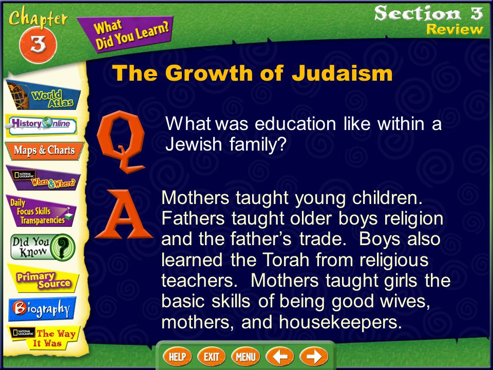 What was education like within a Jewish family.Mothers taught young children.