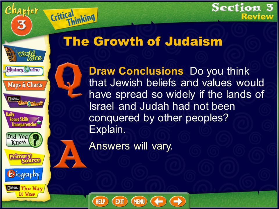 Draw Conclusions Do you think that Jewish beliefs and values would have spread so widely if the lands of Israel and Judah had not been conquered by other peoples.