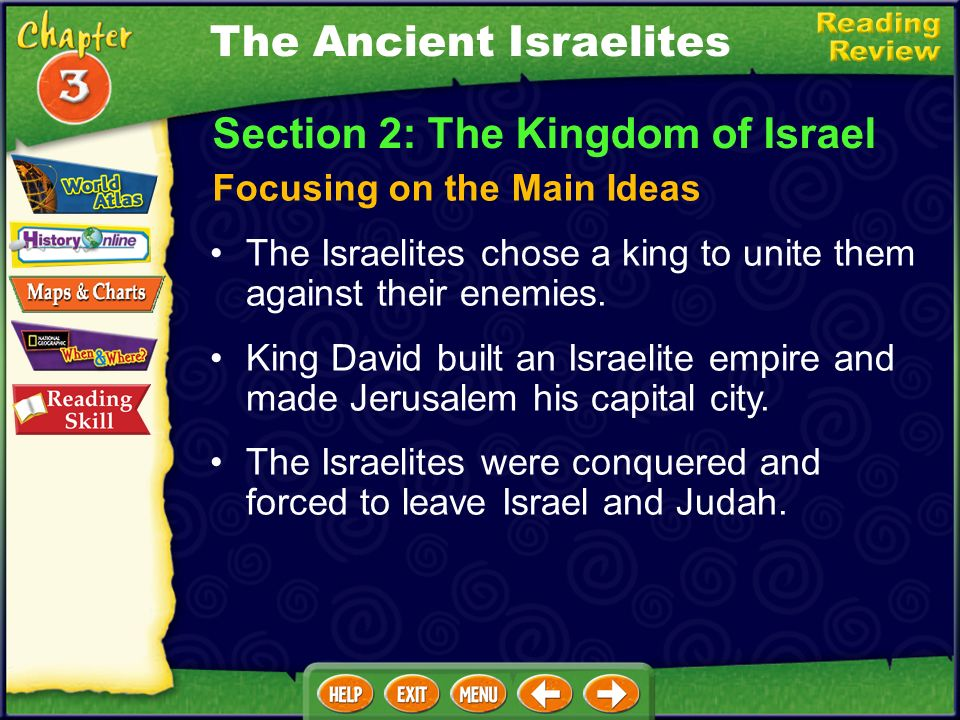 The Ancient Israelites The Israelites chose a king to unite them against their enemies.