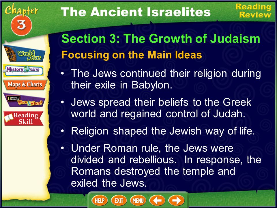 The Jews continued their religion during their exile in Babylon.