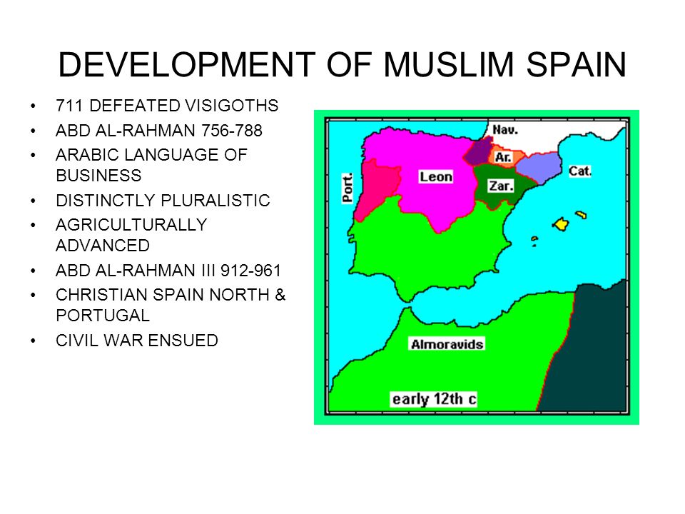 RECONQUISTA OF SPAIN 11 TH – 15 TH CENTURIES PLURALISTIC SOCIETY WILL BEGIN TO FRAGMENT MUSLIM & CHRISTIAN RELATIONS DISINTIGRATE VIEWS OF THE STATE CHRISTIAN VIEW – GEOGRAPHIC & MUSLIM VIEW – WHEREVER MUSLIMS LIVE CASTILE LARGEST CHRISTIAN KINGDOM KING ALFONSO VI 1085 CAPTURE TOLEDO BRIEFLY TAKEN BACK BY ALMORAVIDS OF NORTH AFRICA 1212 RECAPTURED BY ALFONSO VIII (1158-1214) AT LAS NAVAS DE TOLOSA
