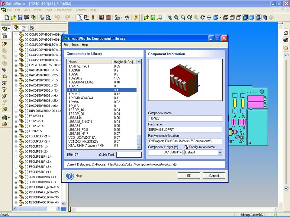 Users can add new parts, new assemblies, or change the component model CircuitWorks references to an alternative model using the File menu