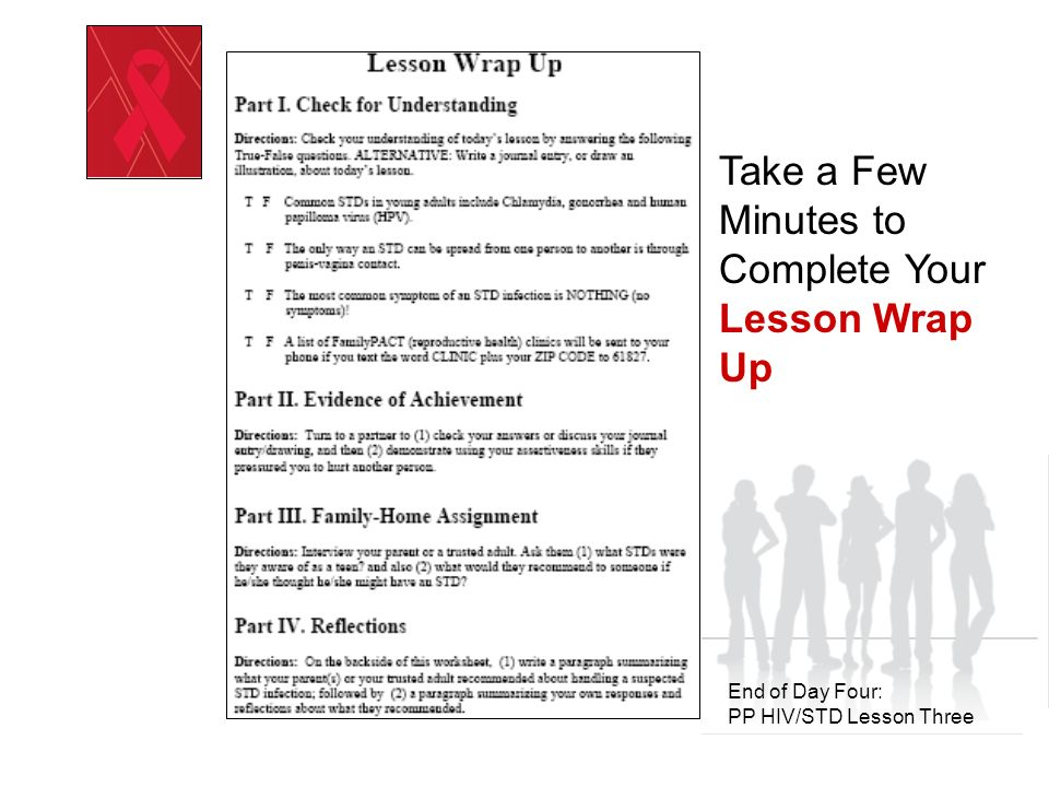 Day Five: PP HIV/STD Lesson Four Positive Prevention HIV/STD Prevention Education Recognizing and Reducing Risk