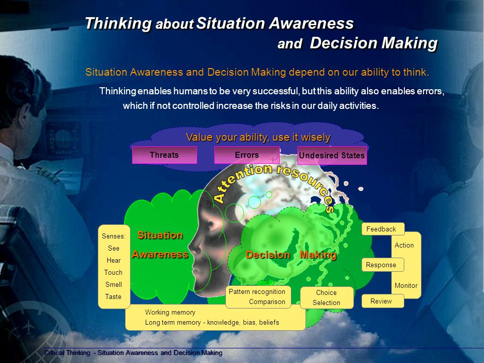 Critical Thinking - Situation Awareness and Decision Making Copyright D Gurney 2006 Critical Thinking - for Situation Awareness Critical thinking for Situation Awareness – seeking information Essential components: – Accuracy; is the information true – Clarity; is the information understood – Precision; seek detail to understand the situation – Relevance; is the information connected to the situation – Depth; does the information address the complexity of the situation – Breadth; are there other points of view or other ways to consider this situation – Logic; does your understanding of the situation make sense Whenever you don't understand something, ask yourself a question for clarification ?