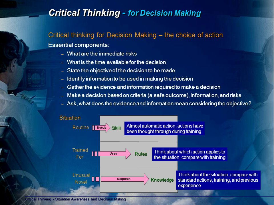 Critical Thinking - Situation Awareness and Decision Making Copyright D Gurney 2006 Critical Thinking Critical thinking is at the centre of all safety processes and human activity.