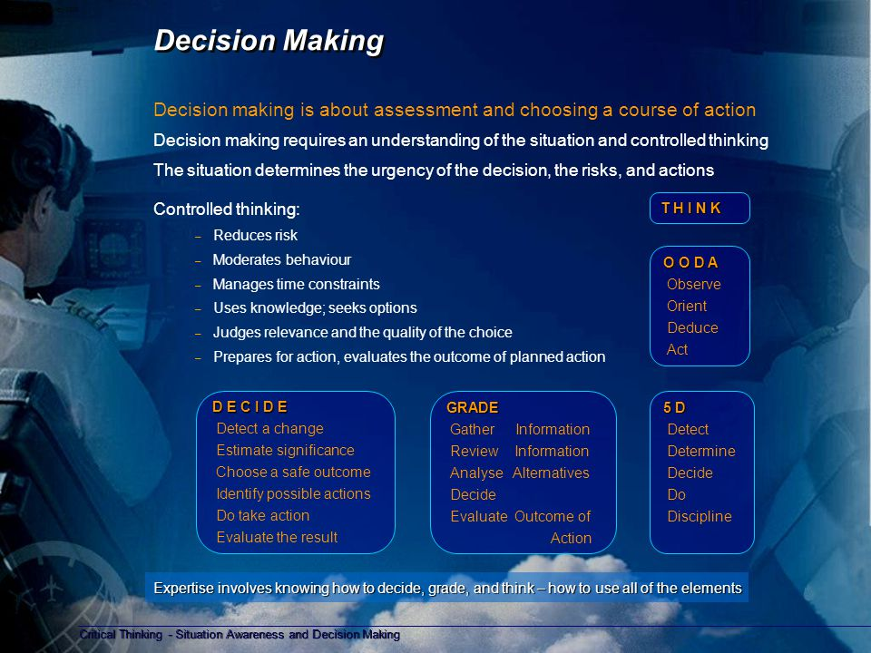 Critical Thinking - Situation Awareness and Decision Making Copyright D Gurney 2006 Thinking inside the 'box' before you think outside of the box Critical Thinking Critical thinking provides the mental control and discipline required for situation assessment and decision making.
