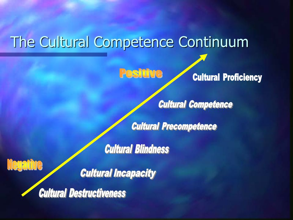 Cultural Diversity and Health Care Cultural Competence Definitions Cultural Competence Definitions Cultural Destructiveness: forced assimilation, subjugation, rights and privileges for dominant groups only Cultural Destructiveness: forced assimilation, subjugation, rights and privileges for dominant groups only Cultural Incapacity: racism, maintain stereotypes, unfair hiring practices Cultural Incapacity: racism, maintain stereotypes, unfair hiring practices Cultural Blindness: differences ignored, treat everyone the same , only meet needs of dominant groups Cultural Blindness: differences ignored, treat everyone the same , only meet needs of dominant groups