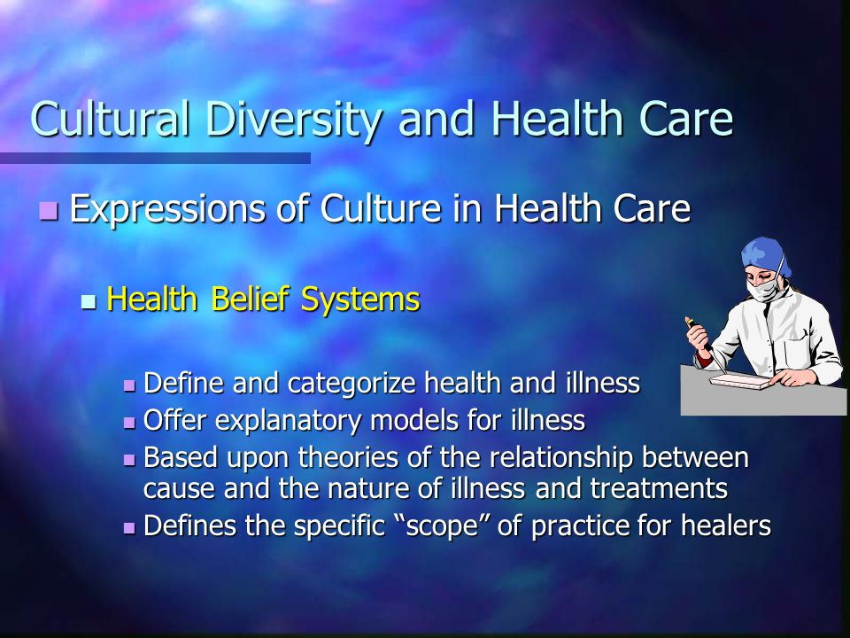 Cultural Diversity and Health Care The Culture of Western Medicine The Culture of Western Medicine Meliorism – make it better Meliorism – make it better Dominance over nature – take control Dominance over nature – take control Activism – do something Activism – do something Timeliness – sooner than later Timeliness – sooner than later Therapeutic aggressiveness – stronger=better Therapeutic aggressiveness – stronger=better Future orientation – plan, newer=better Future orientation – plan, newer=better Standardization – treat similar the same Standardization – treat similar the same