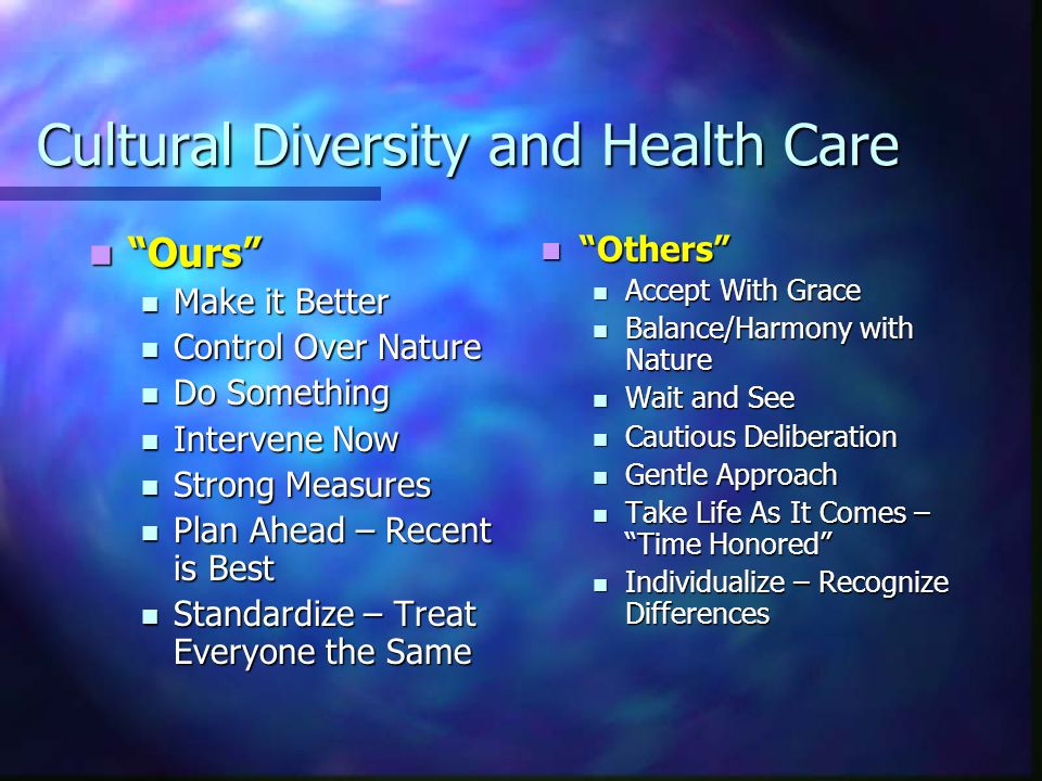 Cultural Diversity and Health Care Cultural Competence – Definition Cultural Competence – Definition A set of congruent behaviors, practices, attitudes and policies that come together in a system or agency or among professionals, enabling effective work to be done in cross-cultural situations