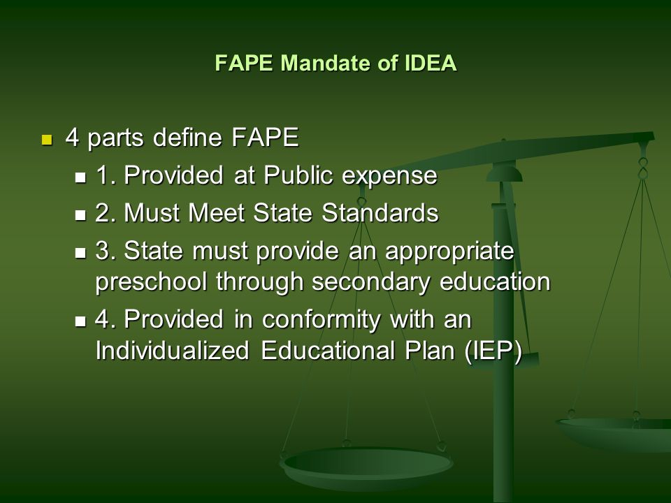 The Free and Appropriate Free Free Must provide services related to education free of cost.