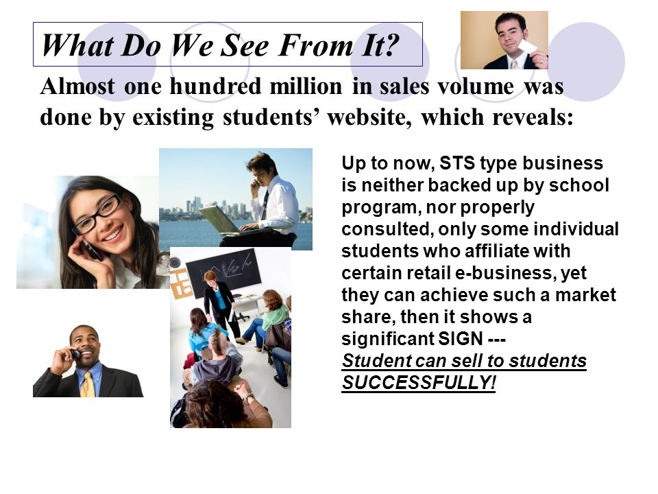 Team Work to replace Individual STS Business The uniqueness of STS online business type is that: Vendors and customers are together in the same community.