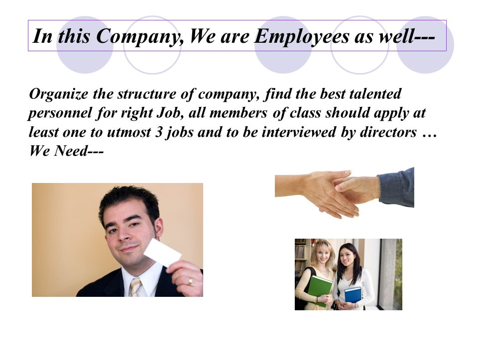 Director of P.R: Associate with all Student Club in Campus, Provide news material to Website Director of H.R: Job Assigning, Negotiate compensation Activity Team Leader: Event Planning Treasure Calculating Rewards Secretary File & Document Advertising Customer Service Important group Administration Forum Meeting Helps Wanted --- Job Applicants Each applicant gets 5 minutes for speech… -----then Q&A