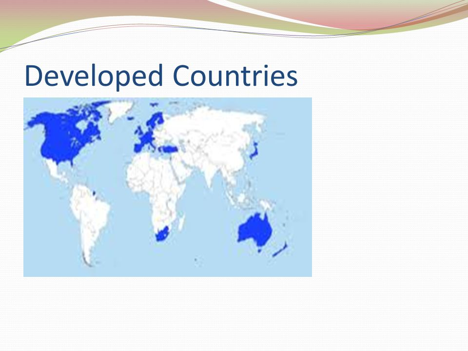 Developing Countries Countries with less productive economic than developed countries and low standards of living.