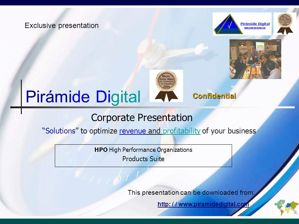 Agenda Pirámide Digital Mission Vision Values Products & Services Results Generating Actions Top Level Management Consulting Top Level Training Partnerships Experience Customers Personal Pirámide Digital Today.