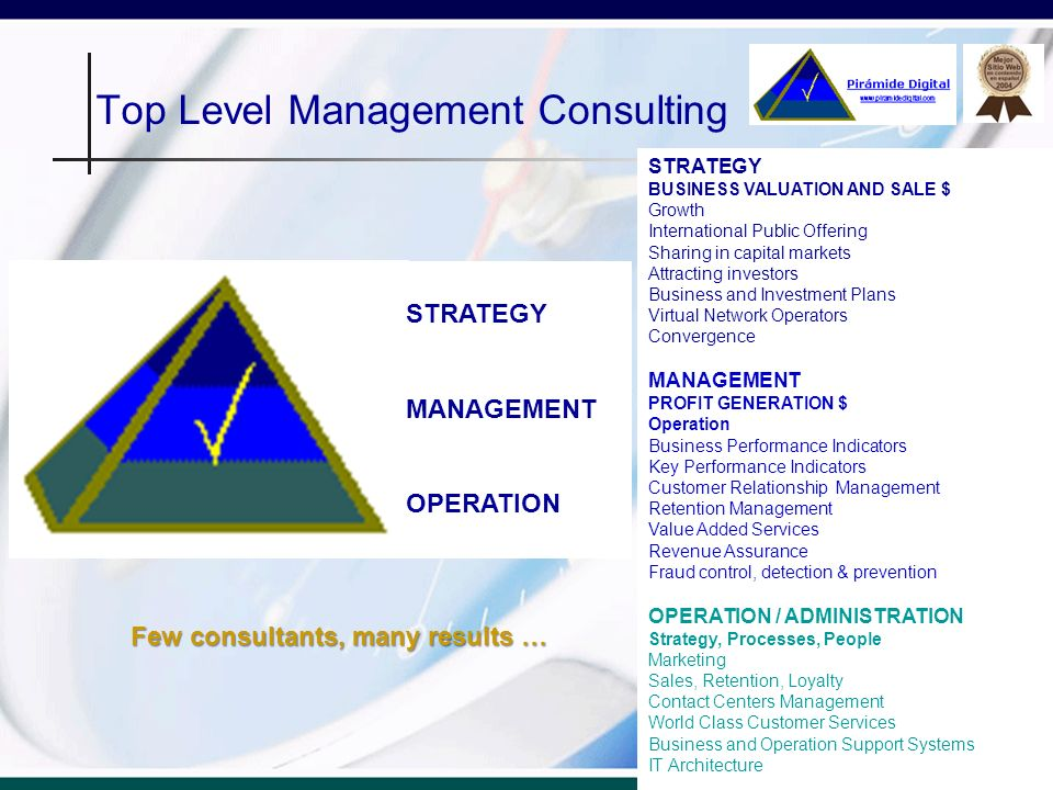 Top Level Management Consulting Top Level Management Consulting Testimonial … Piramide Digital had contributed to develop and implement an strategy oriented to increase profit, with high impact in short term.