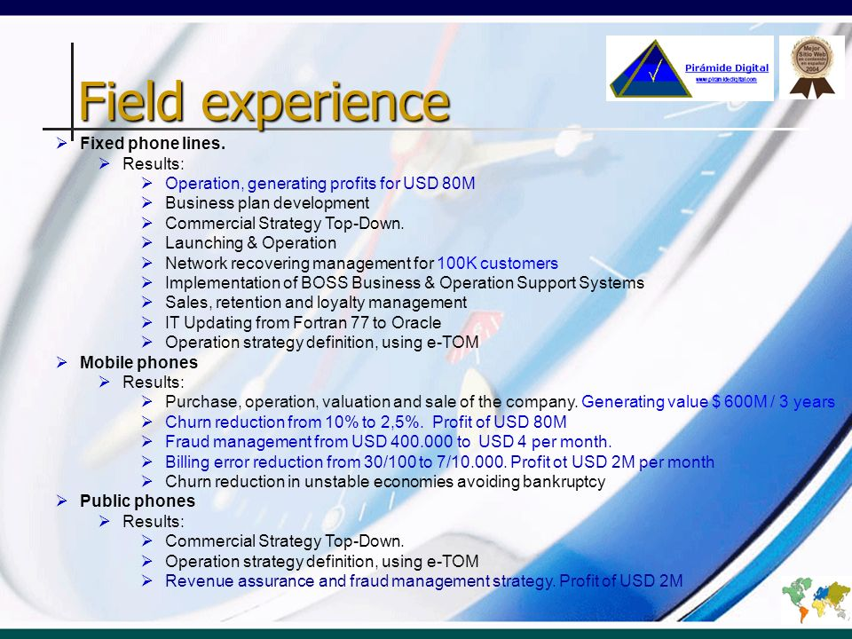 Field experience Data Transmision Results: Commercial Strategy Top-Down.