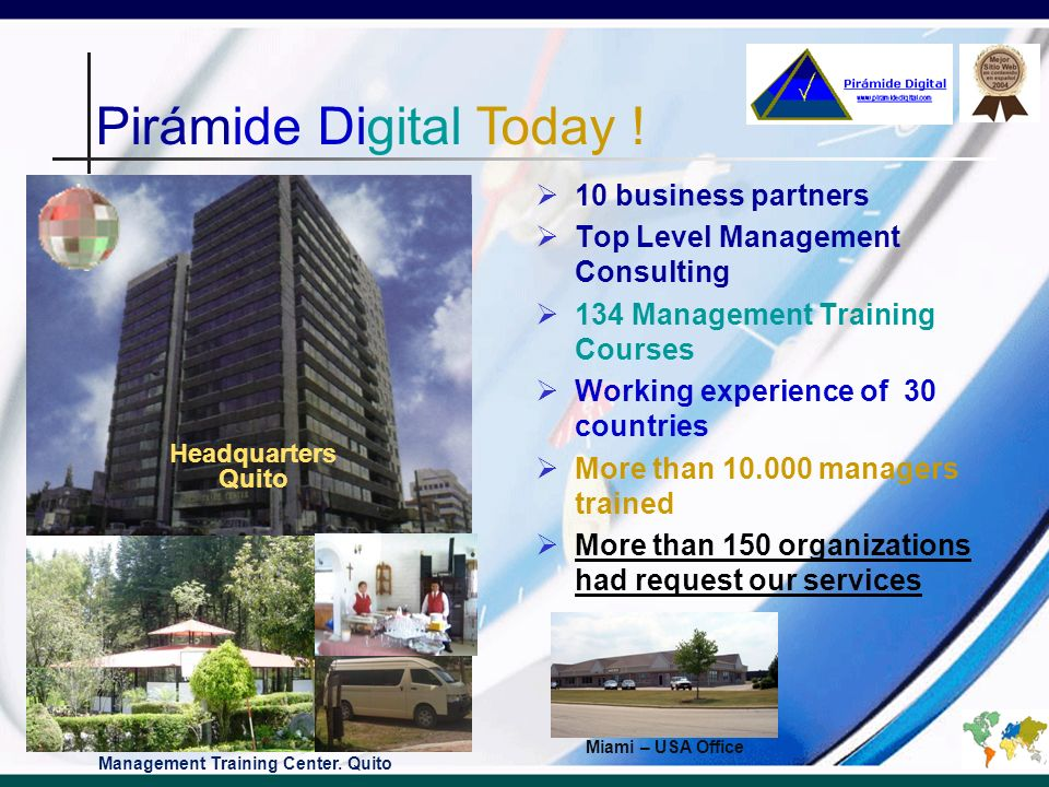 Pirámide Digital Our path Customers Pirámide Digital VALUE REVENUES Partnerships Management Training Open Courses Top Level Management Consulting Management Training In-Company Outsourcing
