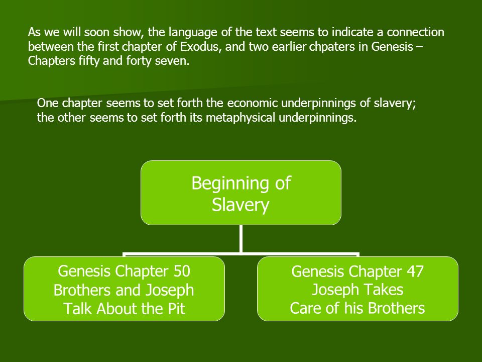 The Socio-Economic Background to Slavery: Genesis Chapter 47 Strangers vs.