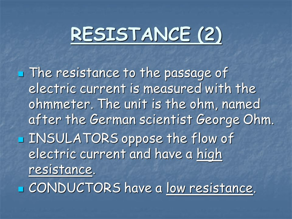 Factors that affect the resistance of wires: 1.The thickness of wires 2.