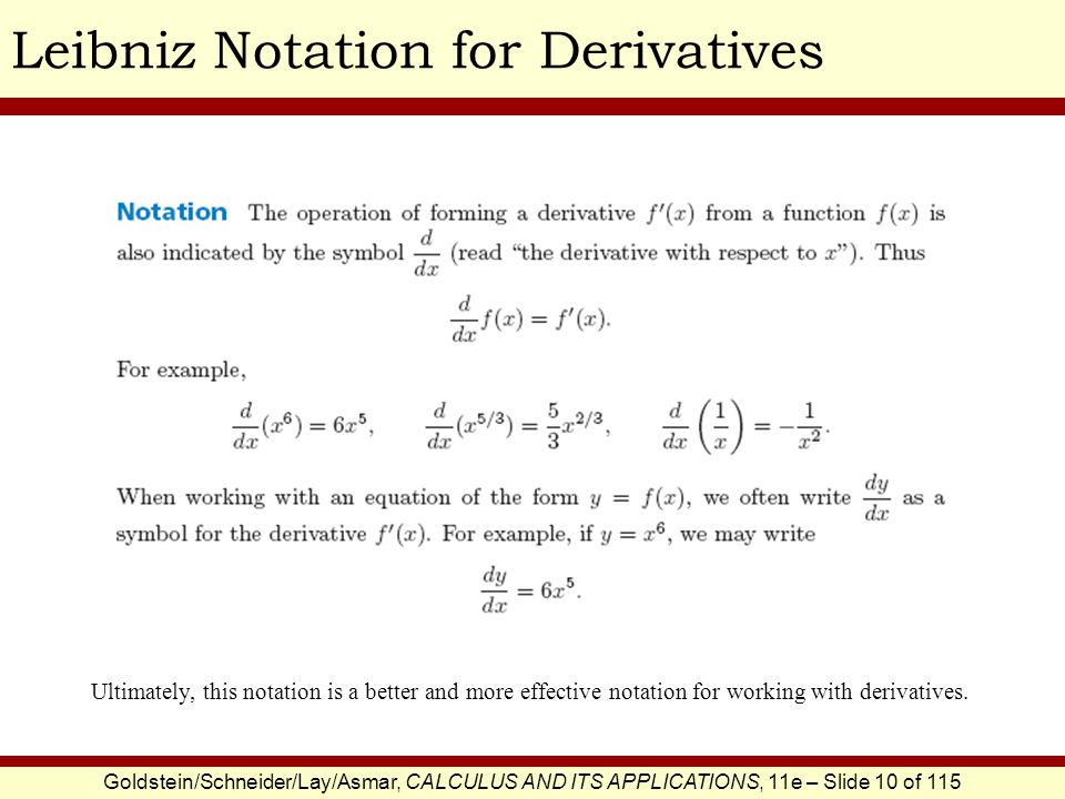 Goldstein/Schneider/Lay/Asmar, CALCULUS AND ITS APPLICATIONS, 11e – Slide 11 of 115 Calculating Derivatives Via the Difference Quotient The Difference Quotient is