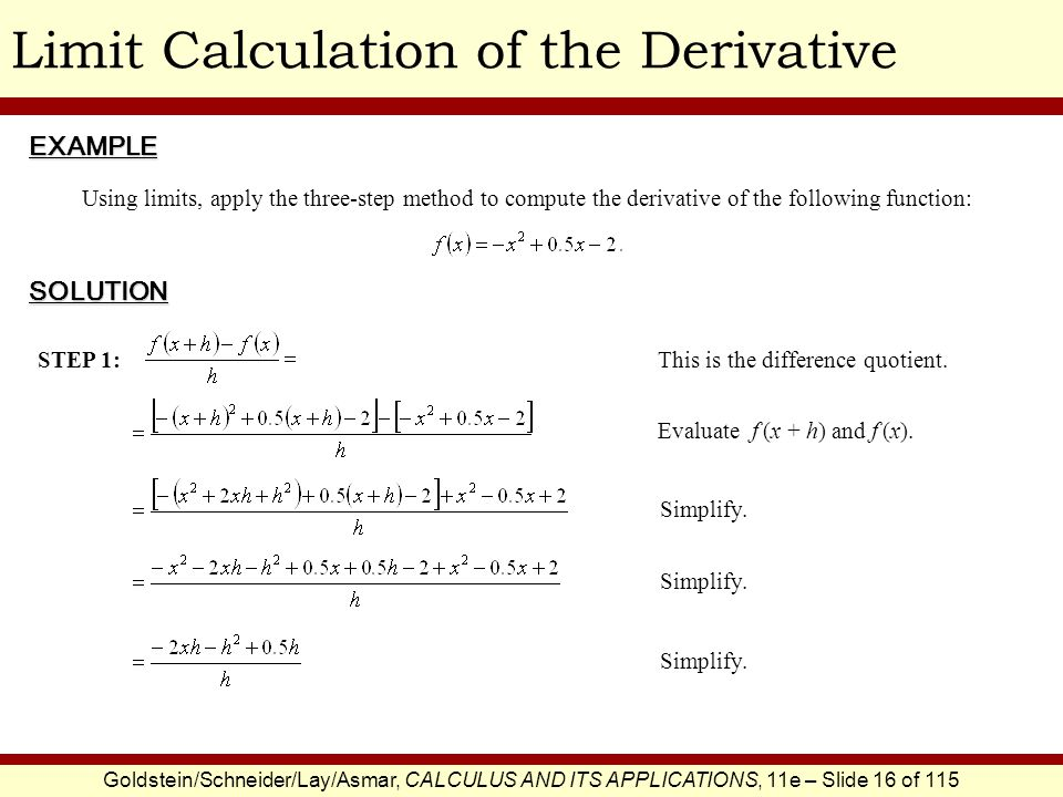 Goldstein/Schneider/Lay/Asmar, CALCULUS AND ITS APPLICATIONS, 11e – Slide 17 of 115 Limit Calculation of the Derivative Factor.
