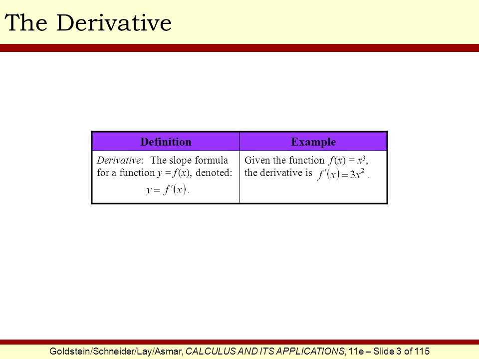 Goldstein/Schneider/Lay/Asmar, CALCULUS AND ITS APPLICATIONS, 11e – Slide 4 of 115 Differentiation DefinitionExample Differentiation: The process of computing a derivative.