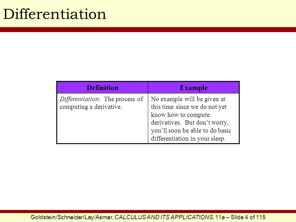 Goldstein/Schneider/Lay/Asmar, CALCULUS AND ITS APPLICATIONS, 11e – Slide 5 of 115 Differentiation Examples These examples can be summarized by the following rule.