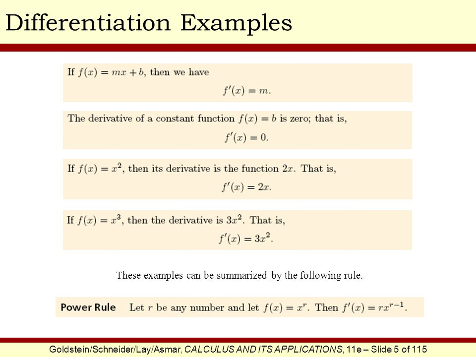 Goldstein/Schneider/Lay/Asmar, CALCULUS AND ITS APPLICATIONS, 11e – Slide 6 of 115 Differentiation ExamplesEXAMPLE SOLUTION Find the derivative of This is the given equation.