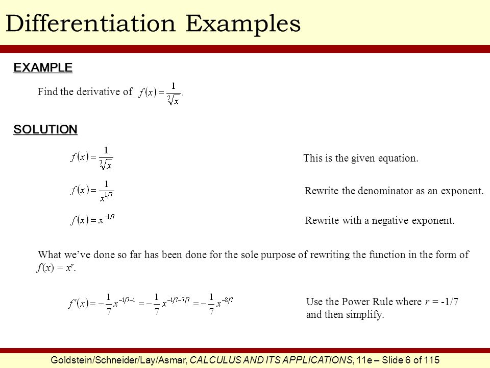 Goldstein/Schneider/Lay/Asmar, CALCULUS AND ITS APPLICATIONS, 11e – Slide 7 of 115 Differentiation ExamplesEXAMPLE SOLUTION Find the slope of the curve y = x 5 at x = -2.