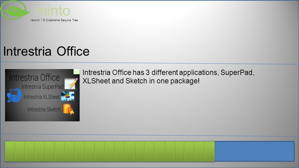 minto Version 1.5 Codename Sequoia Tree Intrestria Office has 3 different applications, SuperPad, XLSheet and Sketch in one package.