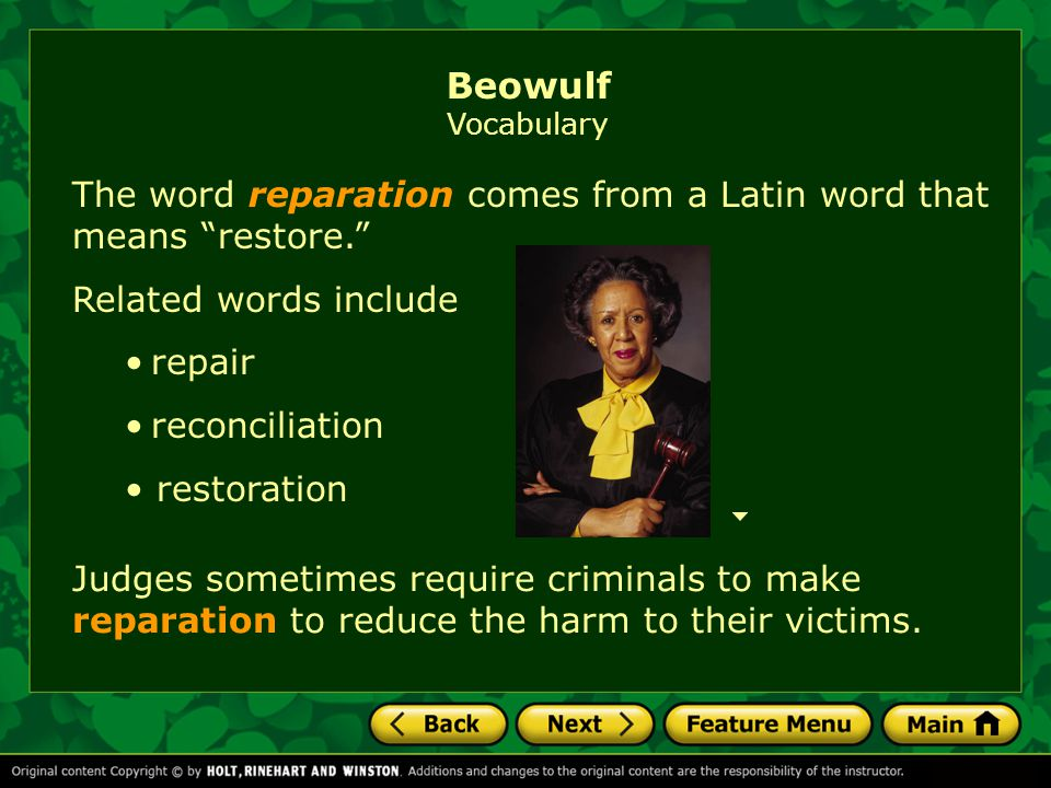 Related words include repair reconciliation restoration The word reparation comes from a Latin word that means restore. Judges sometimes require criminals to make reparation to reduce the harm to their victims.