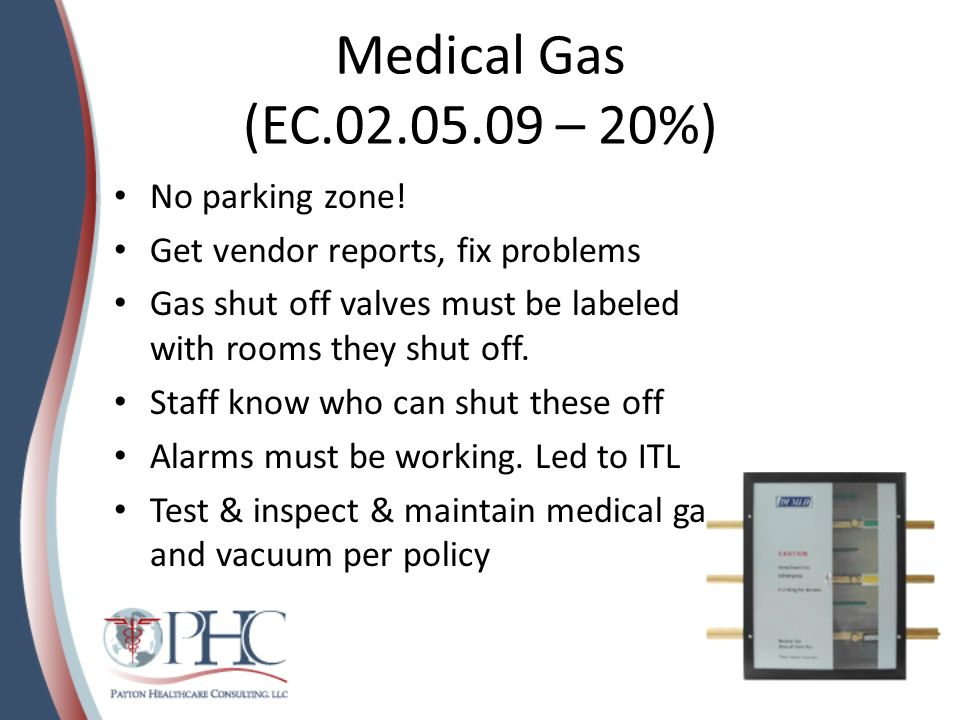 Safe, Functional Environment (EC.02.06.01 – 20%) Areas scored here: furnishing and equipment are in good repair, the environment meets needs of patient.