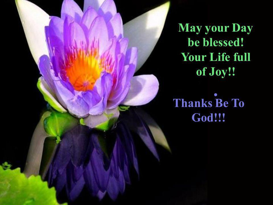 May your Day be blessed! Your Life full of Joy!!. Thanks Be To God!!!