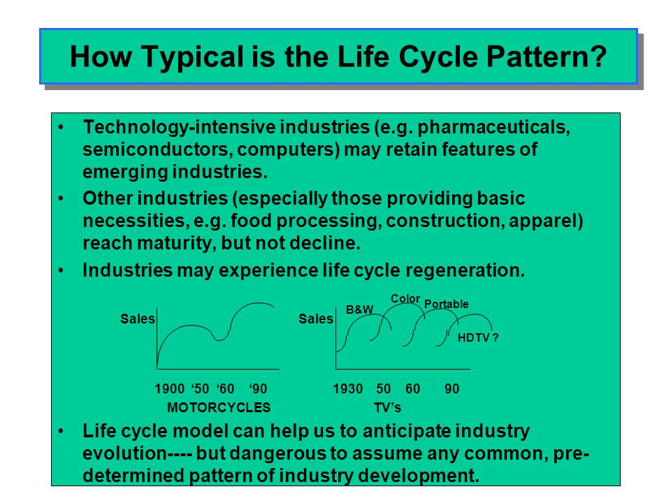 Evolution of Industry Structure over the Life Cycle INTRODUCTION GROWTH MATURITY DECLINE DEMANDAffluent buyersIncreasingMass market Knowledgeable, penetrationreplacement customers, resi- demand dual segments TECHNOLOGYRapid productProduct and Incremental Well-diffused innovation process innovation innovation technology PRODUCTS Wide variety, Standardization Commoditiz- Continued comm- rapid design changeation oditization MANUFACT-Short-runs, skill Capacity shortage, Deskilling Overcapacity URING intensive mass-production TRADE -----Production shifts from advanced to developing countries----- COMPETITION Technology-Entry & exit Shakeout & Price wars, consolidation exit KSFs Product innovation Process techno- Cost efficiency Overhead red- logy.