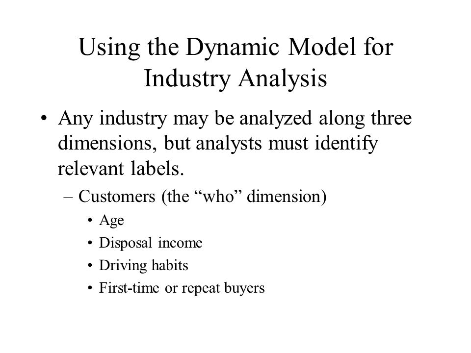 Using the Dynamic Model for Industry Analysis (cont.) –Products and Services (the what dimension) Size Availability Accessories Cost