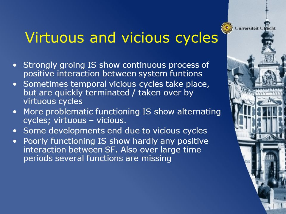 Trends / Reoccurring patterns Very preliminary results –Guidance very important: often starting point of IS dynamics, often also starting point of new vrituous cycle –Guidance often leads to (soft) knowledge development (via resources formation).