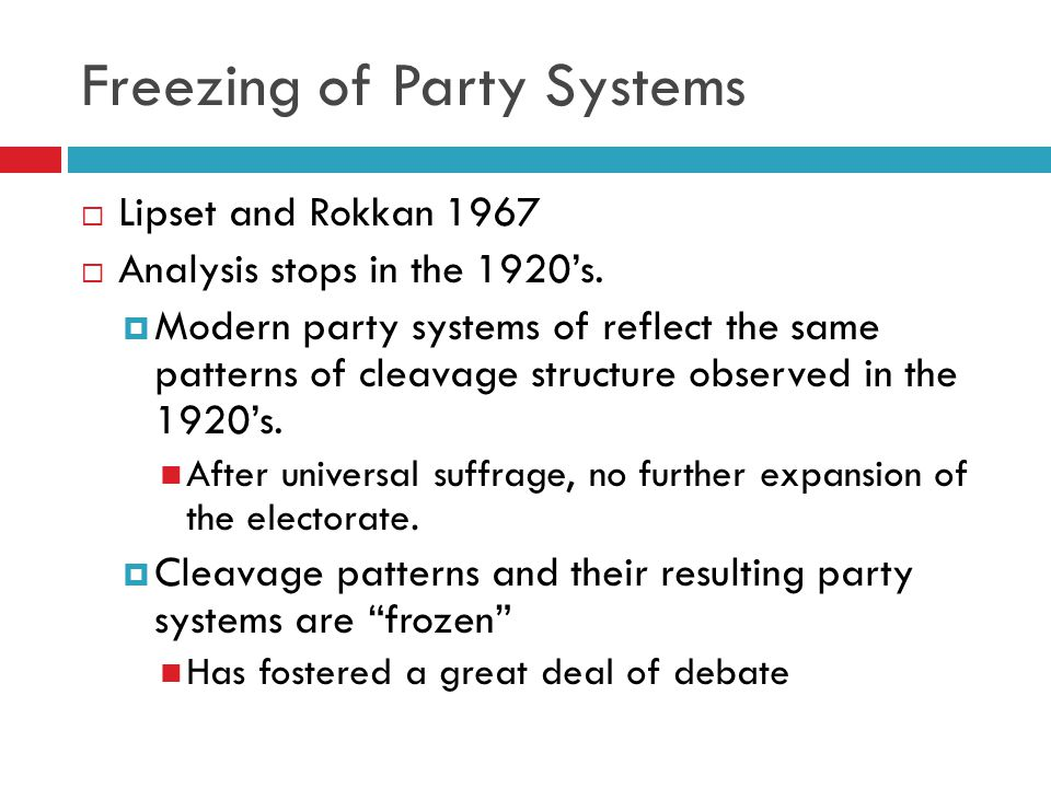 Evaluating Lipset and Rokkan  Shows the importance of societal context in party formation.